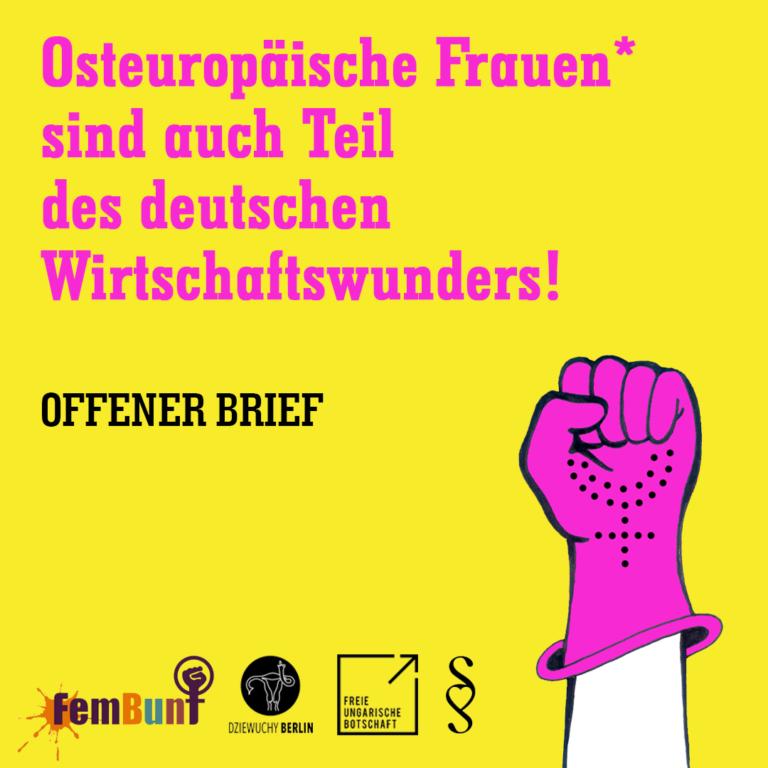 Offener Brief: Osteuropäische Frauen* sind auch Teil des deutschen Wirtschaftswunders!