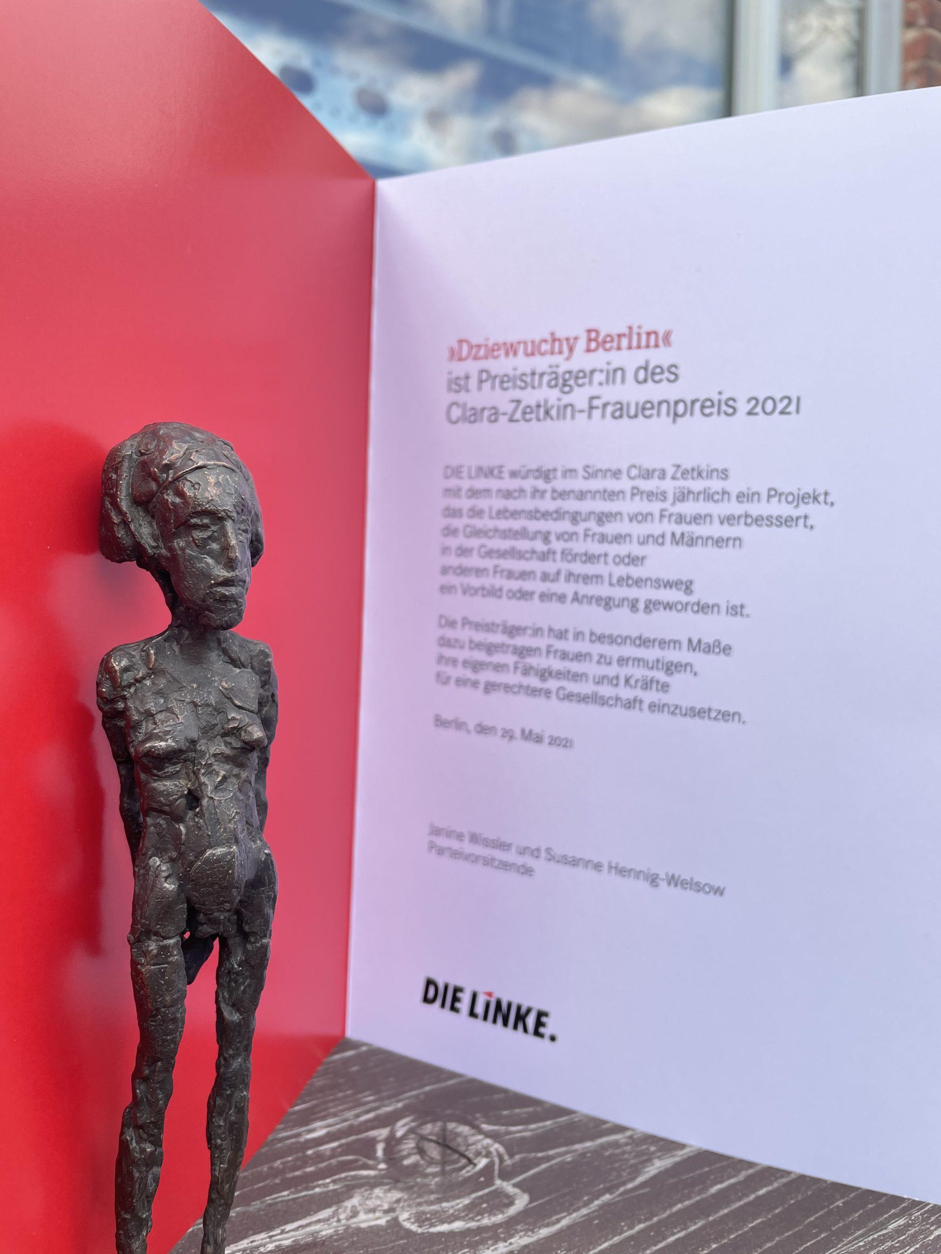 Clara Zetkin-Frauenpreis 2021 für Dziewuchy Berlin